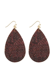 Riah Fashion Leather-Cork-Fish Hook-Teardrop-Earrings - Product Mini Image