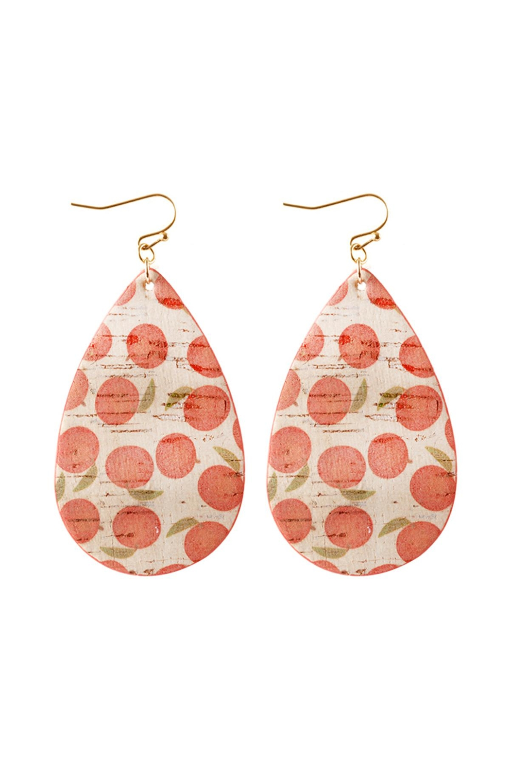 Riah Fashion Leather-Fruit-Fish-Hook-Tear-Drop-Earrings - Front Cropped Image