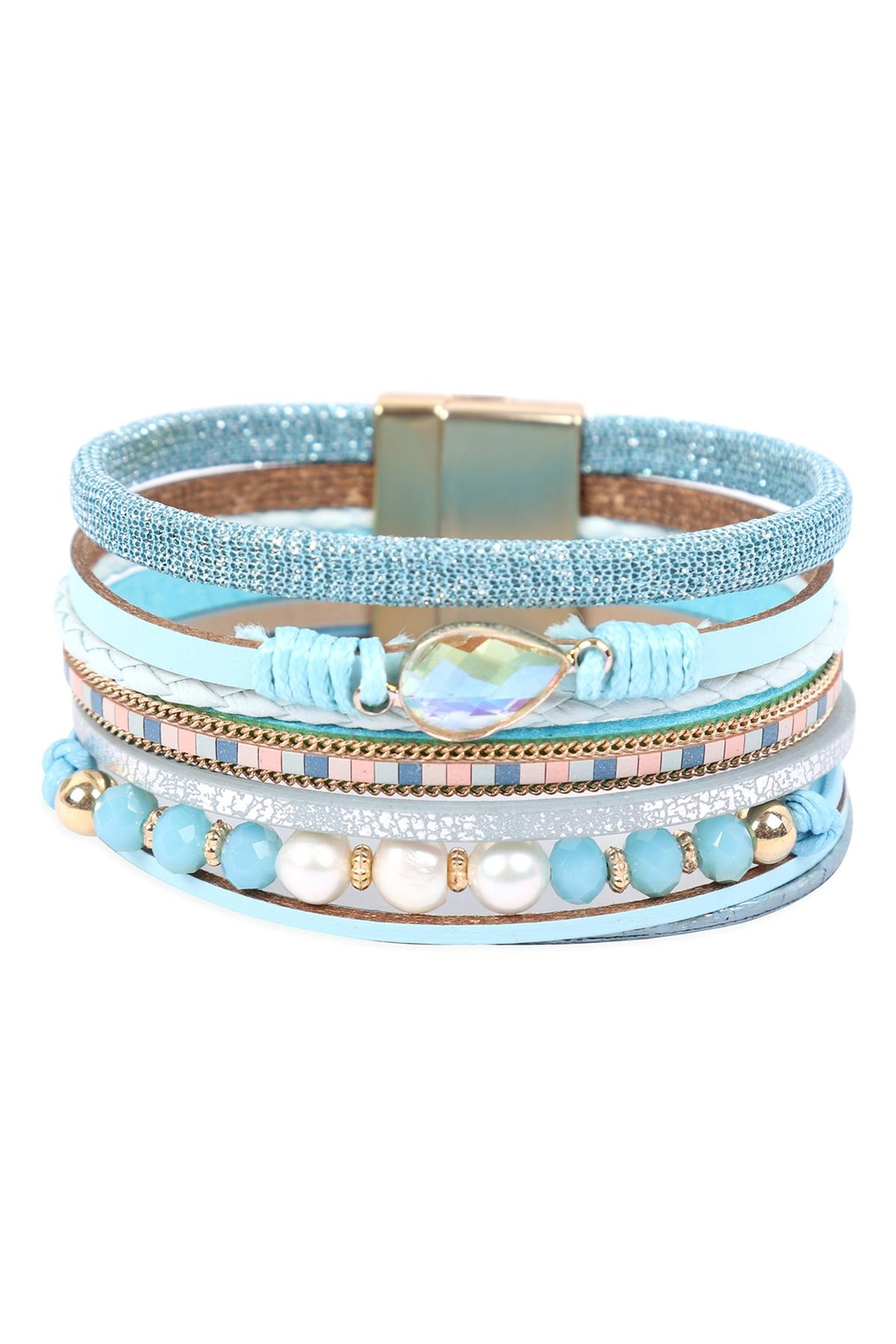 Riah Fashion Leather Mix Beaded Magnetic Wrap Bracelet - Front Cropped Image