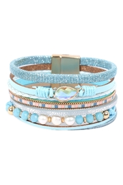 Riah Fashion Leather Mix Beaded Magnetic Wrap Bracelet - Front cropped