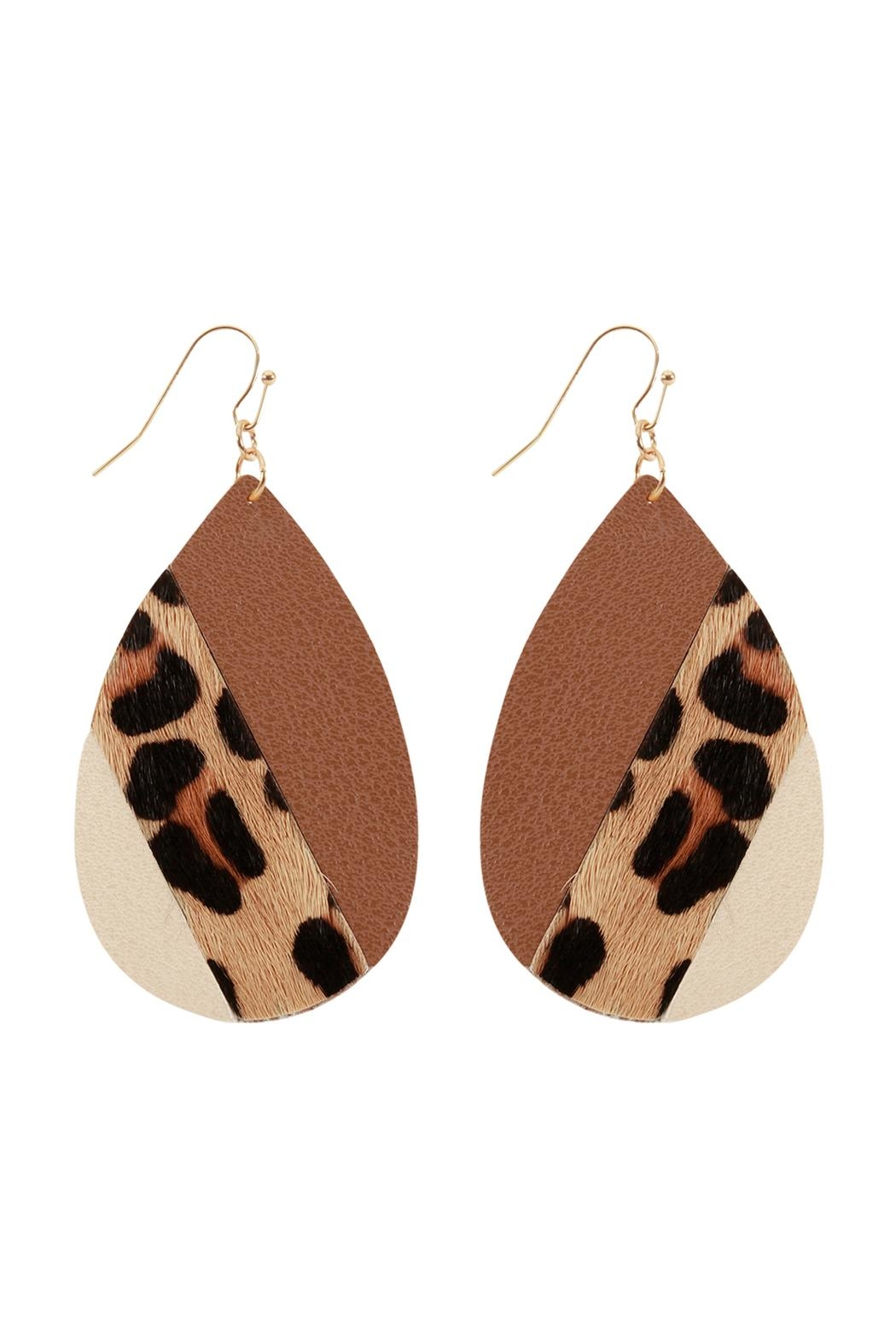 Riah Fashion Leather Multi-Fish-Hook Teardrop-Earrings - Main Image