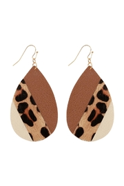 Riah Fashion Leather Multi-Fish-Hook Teardrop-Earrings - Front cropped