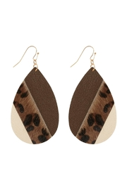 Riah Fashion Leather Multi-Fish-Hook Teardrop-Earrings - Product Mini Image