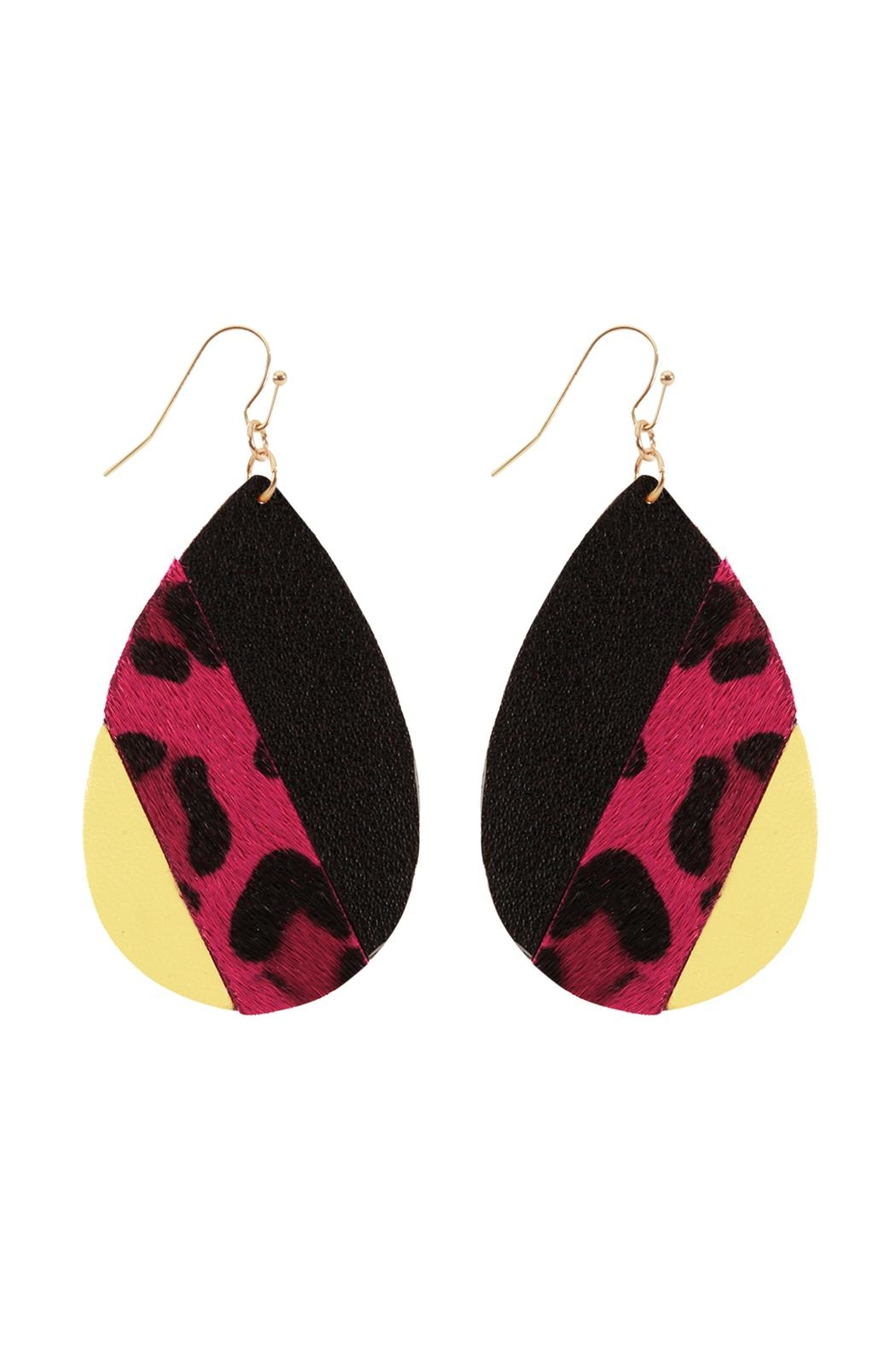 Riah Fashion Leather Multi-Fish-Hook Teardrop-Earrings - Front Cropped Image
