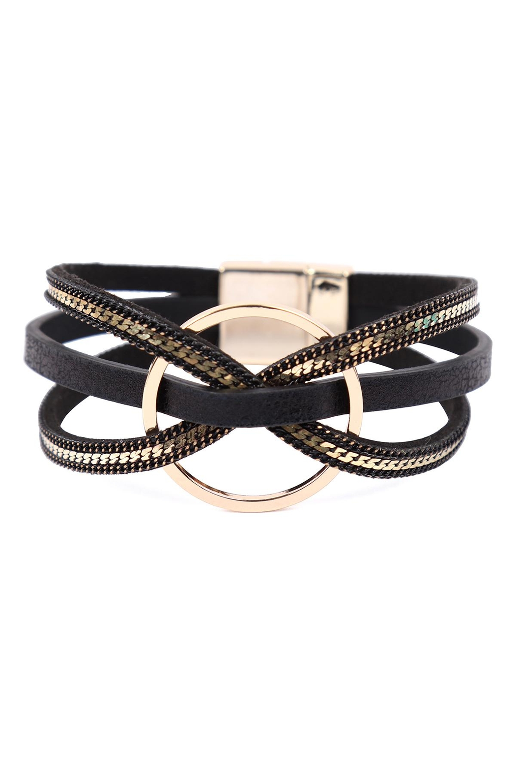 Riah Fashion Leather With Ring Charm Magnetic Wrap Bracelet - Front Cropped Image