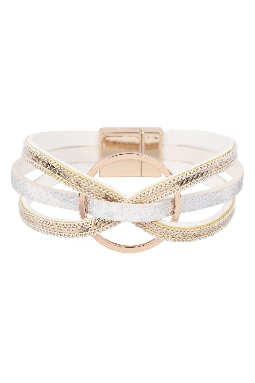 Riah Fashion Leather With Ring Charm Magnetic Wrap Bracelet - Main Image