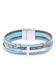 Riah Fashion Leather Wrap With Cross Charm Magnetic Lock Bracelet - Product Mini Image