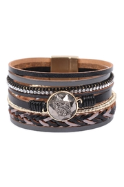 Riah Fashion Leather Wrap With Crystal Charm Magnetic Lock Bracelet - Product Mini Image
