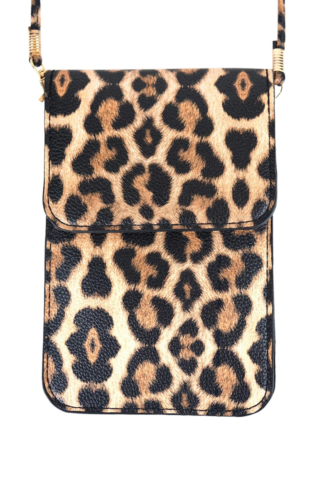 Riah Fashion Leopard-Cellphone-Crossbody-Bag-With-Clear-Window - Front Cropped Image