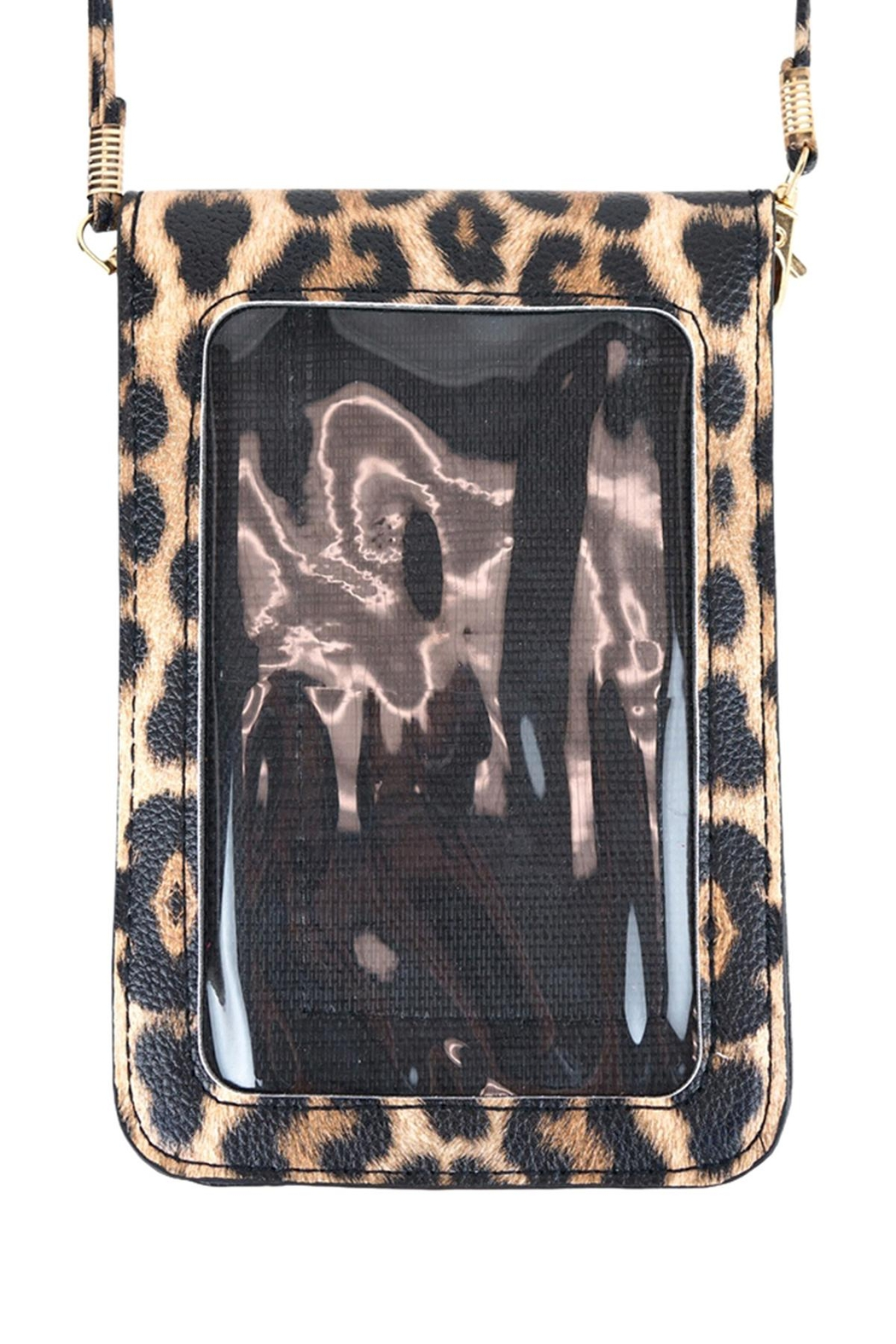 Riah Fashion Leopard-Cellphone-Crossbody-Bag-With-Clear-Window - Side Cropped Image