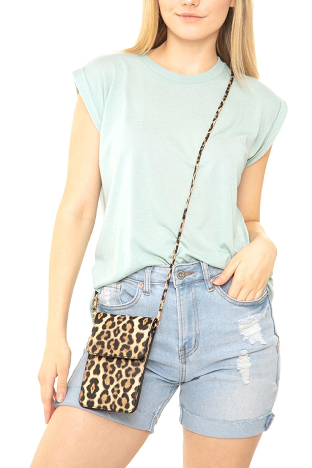 Riah Fashion Leopard-Cellphone-Crossbody-Bag-With-Clear-Window - Front Full Image
