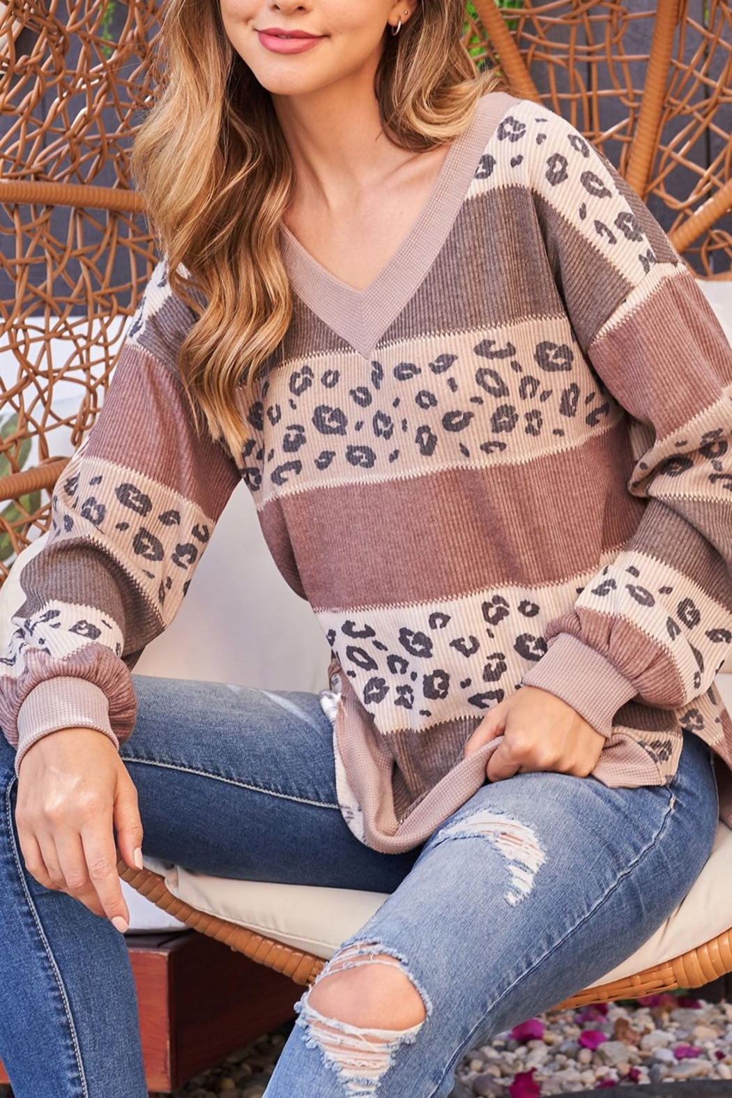 Riah Fashion Leopard-Contrast-V-Neck-Color-Block-Long-Sleeve-Top - Front Full Image