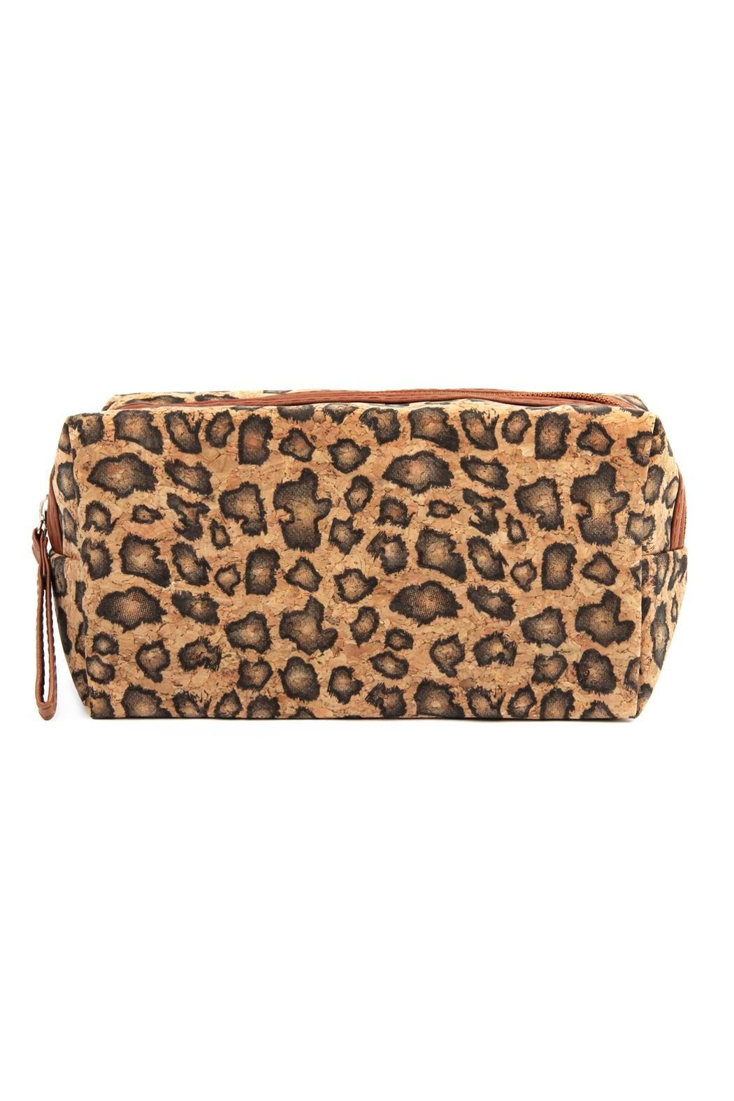 Riah Fashion Leopard--Cork Printed-Cosmetic-Bag - Front Cropped Image
