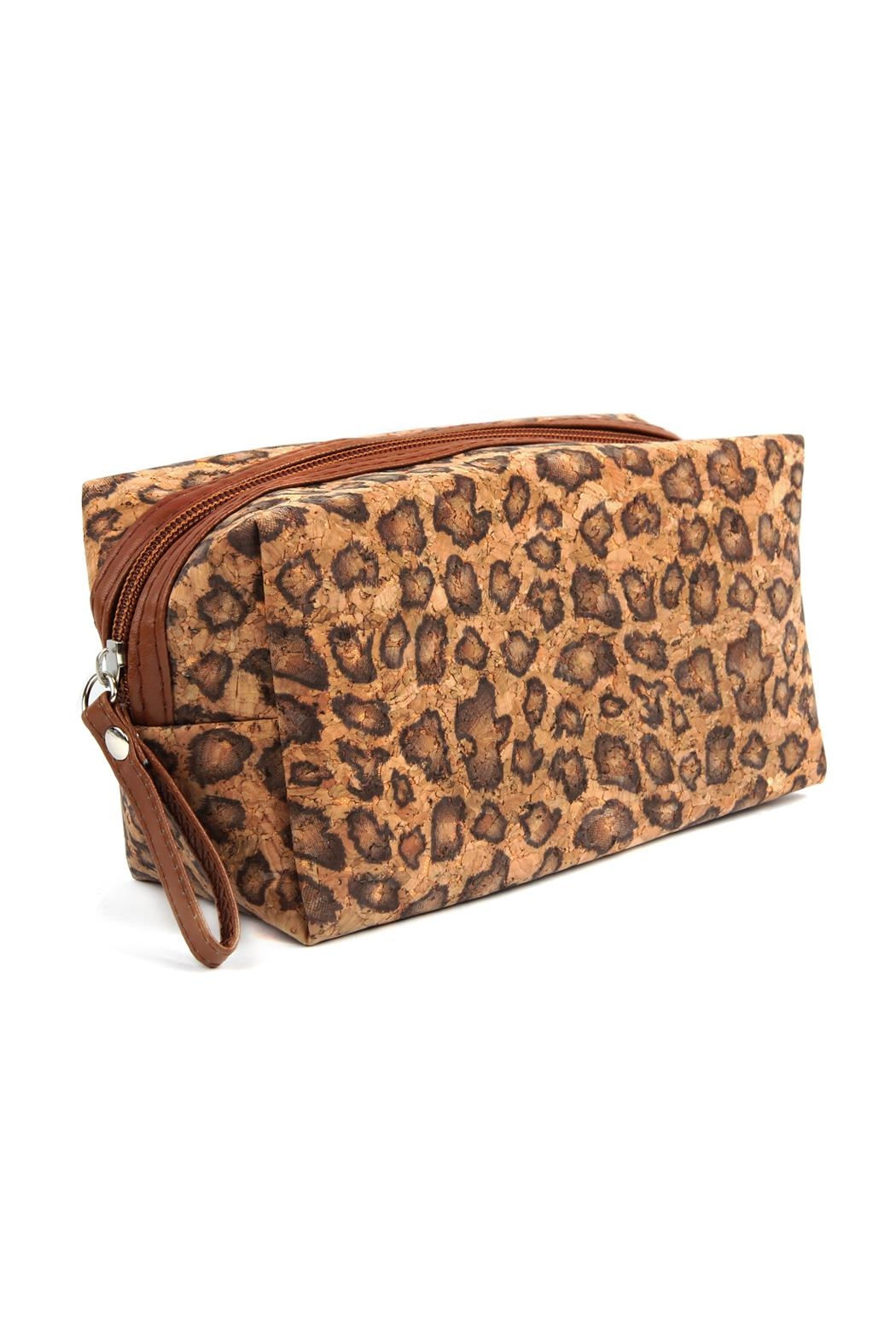 Riah Fashion Leopard--Cork Printed-Cosmetic-Bag - Front Full Image