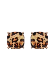 Riah Fashion Leopard Cushion Cut Earrings - Product Mini Image
