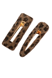 Riah Fashion Leopard Fury-Leather Hair-Clip - Product Mini Image
