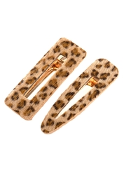 Riah Fashion Leopard Fury-Leather Hair-Clip - Front cropped