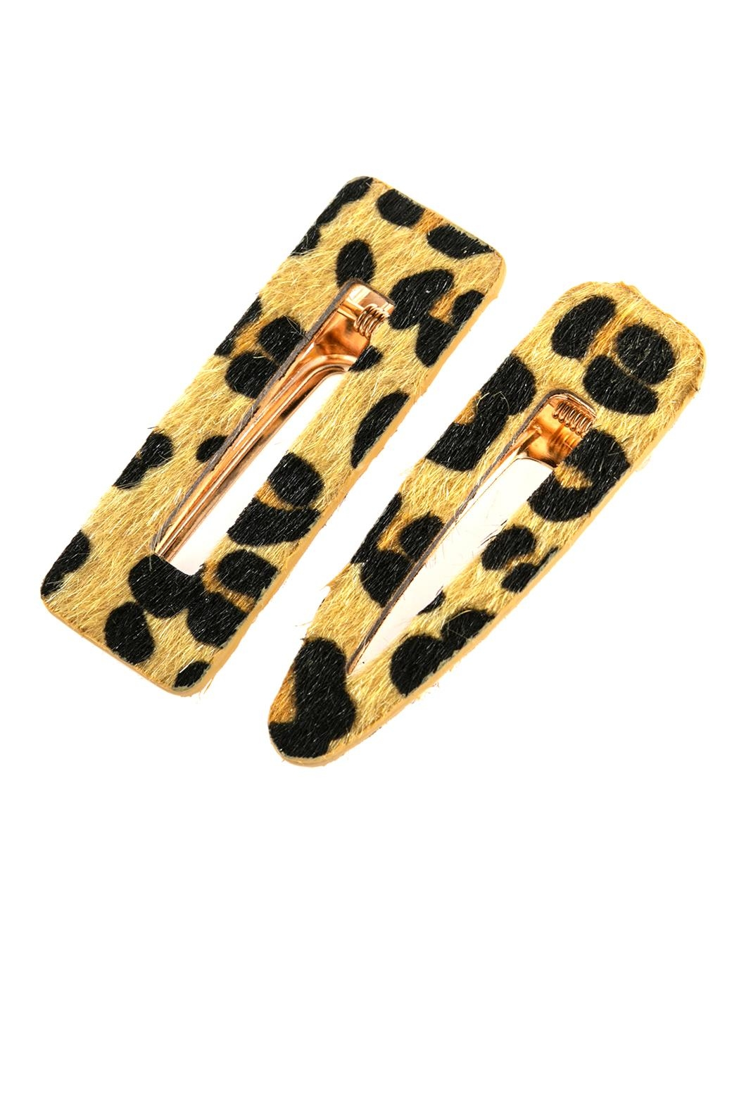 Riah Fashion Leopard Fury-Leather Hair-Clip - Front Cropped Image