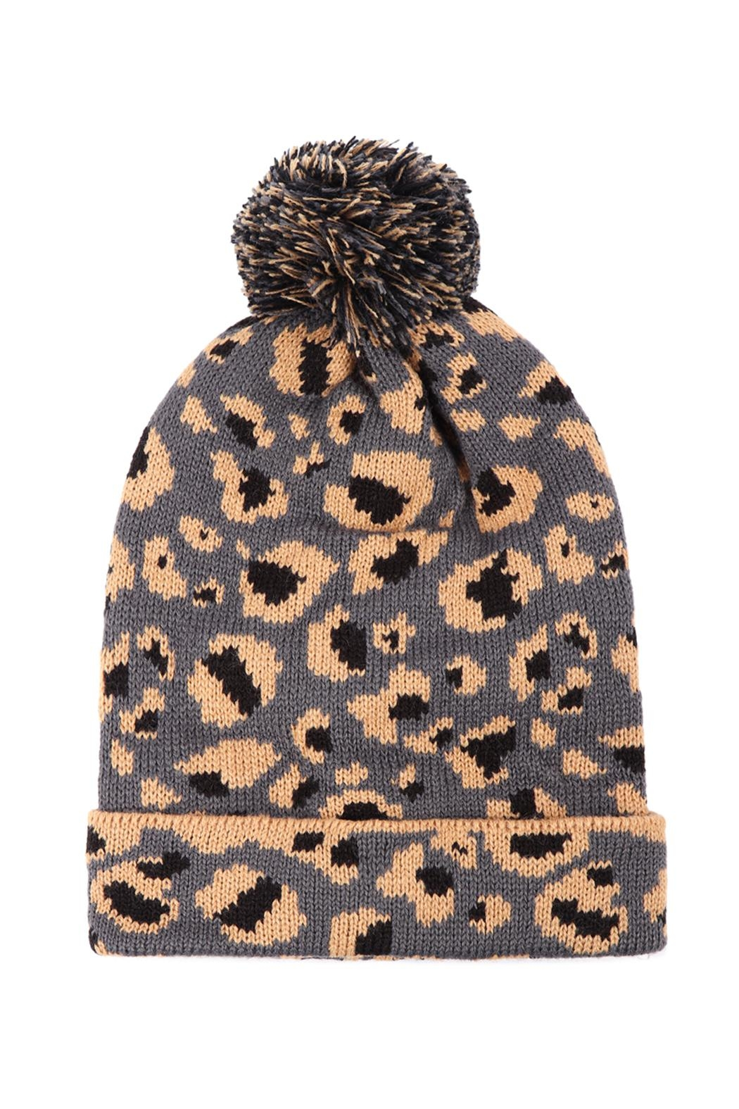 Riah Fashion Leopard-Knitted-Pompom-Beanie - Front Full Image