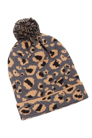 Riah Fashion Leopard-Knitted-Pompom-Beanie - Front cropped