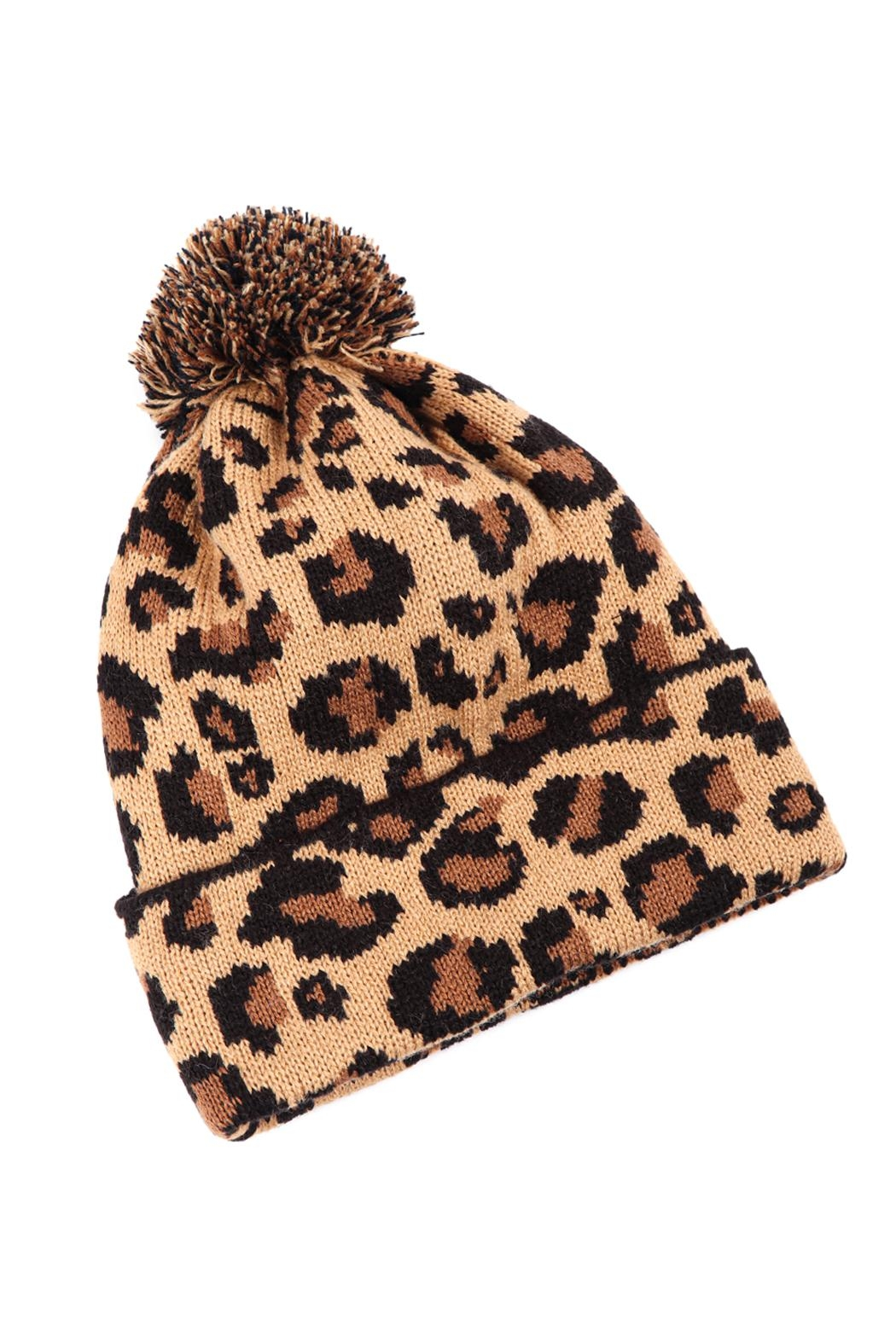 Riah Fashion Leopard-Knitted-Pompom-Beanie - Front Cropped Image