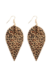 Riah Fashion Leopard Leaf-Shape Cork Drop-Earrings - Product Mini Image