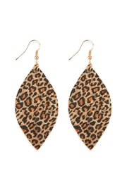 Riah Fashion Leopard Marquise-Cork Drop-Earrings - Product Mini Image