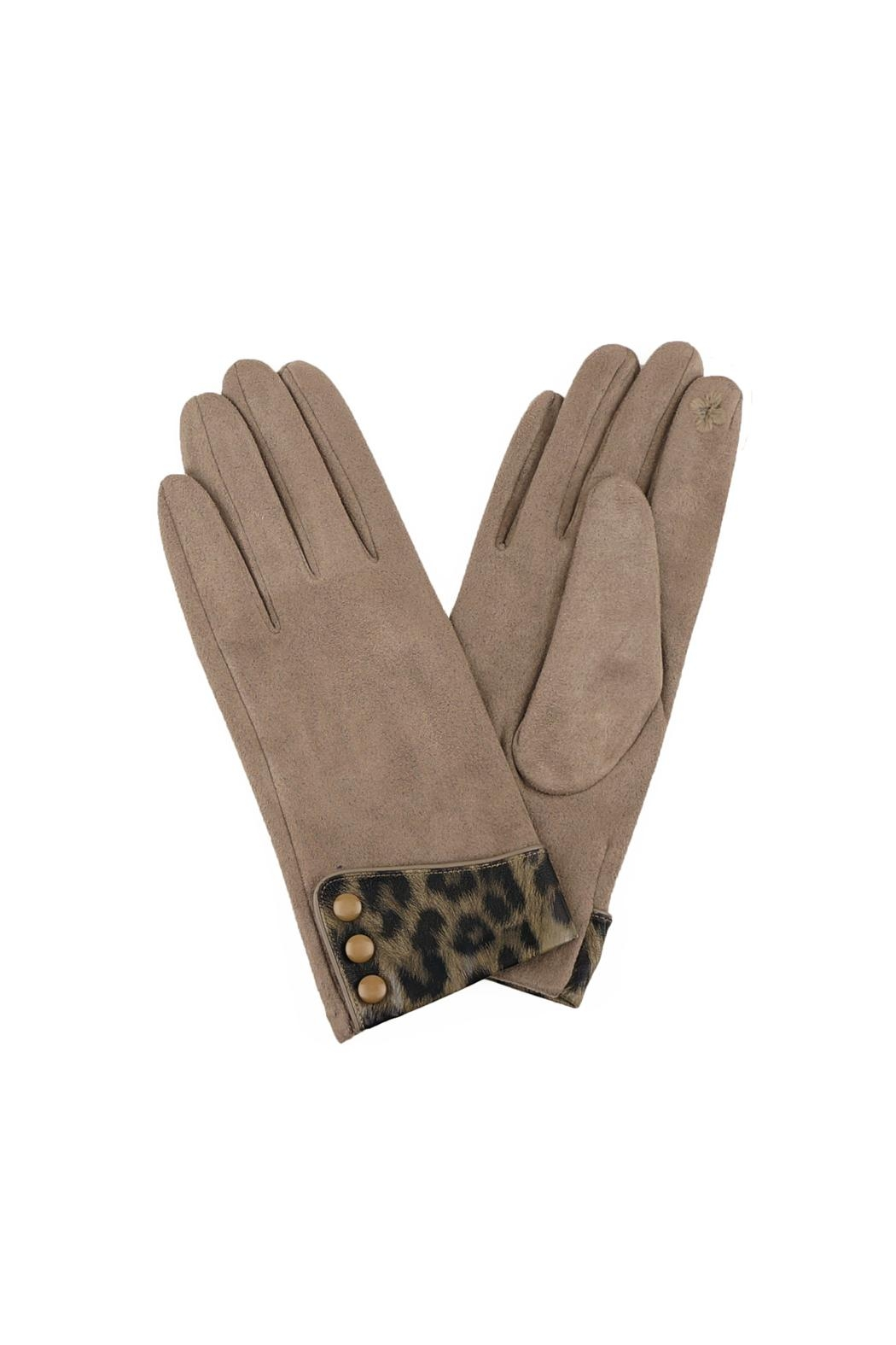 Riah Fashion Leopard-Print-Cuff-Gloves-Smart-Touch - Front Cropped Image
