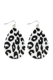 Riah Fashion Leopard-Print-Fabric Fish Hook-Teardrop-Earrings - Product Mini Image