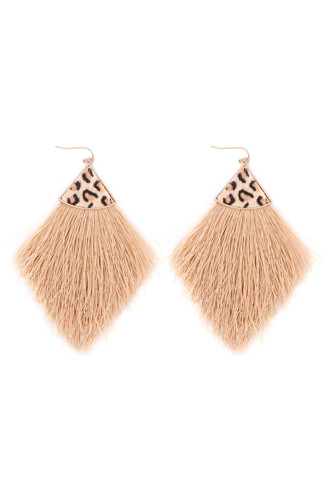 Riah Fashion Leopard Print Fringe Drop Earrings - Front Cropped Image