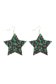 Riah Fashion Leopard-Print-Genuine-Leather-Star-Earrings - Front cropped