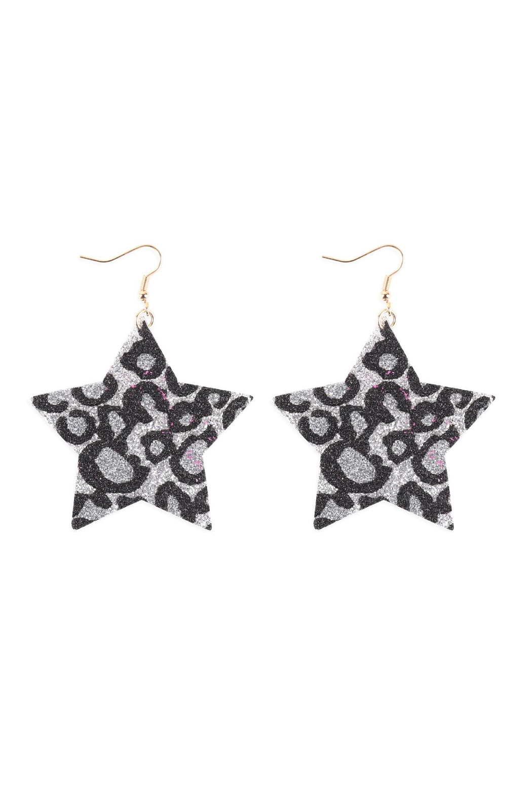 Riah Fashion Leopard-Print-Genuine-Leather-Star-Earrings - Front Cropped Image