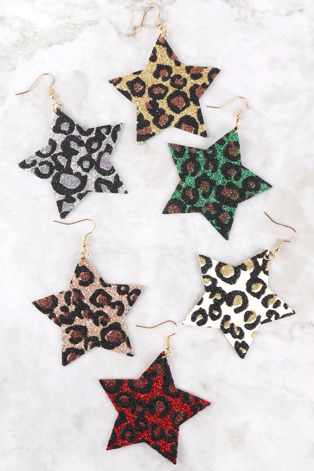 Riah Fashion Leopard-Print-Genuine-Leather-Star-Earrings - Front Full Image