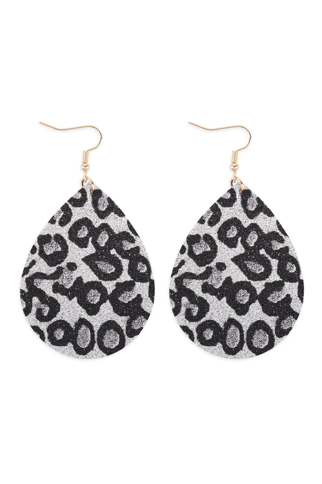 Riah Fashion Leopard-Print-Genuine-Leather-Teardrop-Earrings - Front Cropped Image