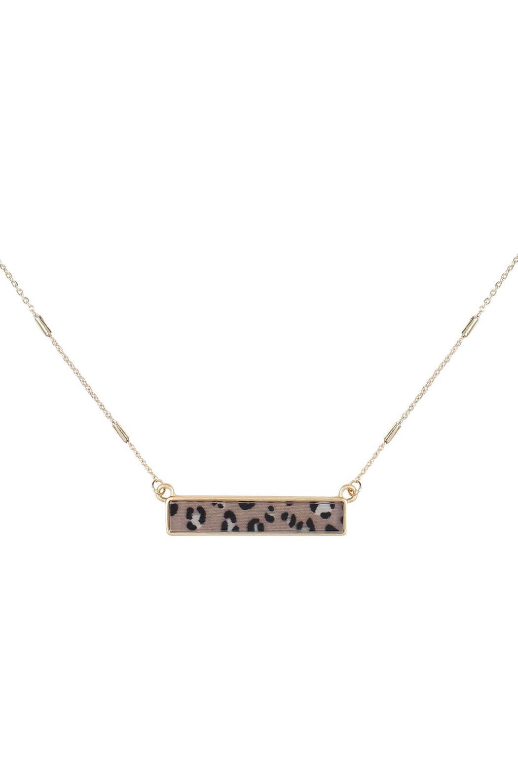 Riah Fashion Leopard-Print-Horizontal-Bar-Necklace - Front Cropped Image