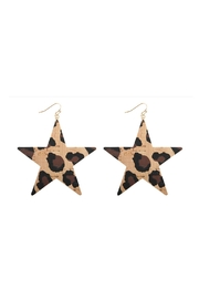 Riah Fashion Leopard Print-Star-Earrings - Product Mini Image