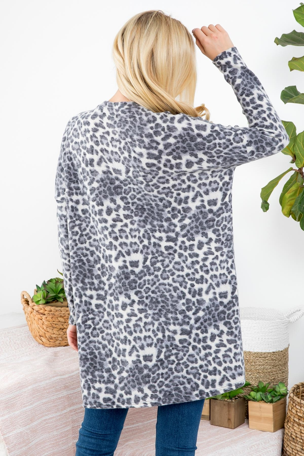 Riah Fashion Leopard-Print-Top - Front Full Image