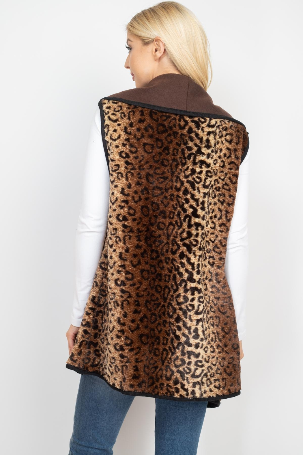 Riah Fashion Leopard-Print-With-Slider-Strap-Vest - Front Full Image