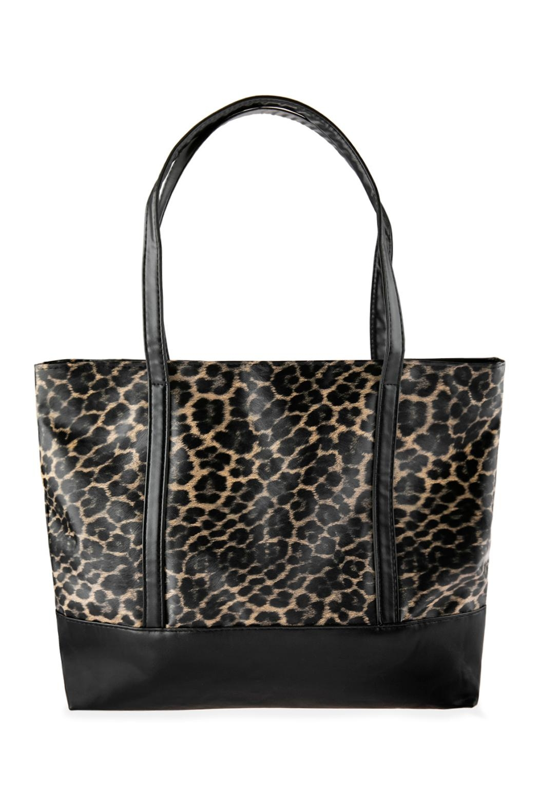 Riah Fashion Leopard Printed Tote Bag - Front Cropped Image