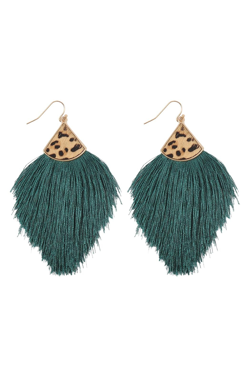Riah Fashion Leopard Real Leather Tassel Hook Earrings - Front Cropped Image