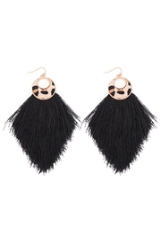 Riah Fashion Leopard-Round-Print-Fringe-Drop-Earrings - Front cropped