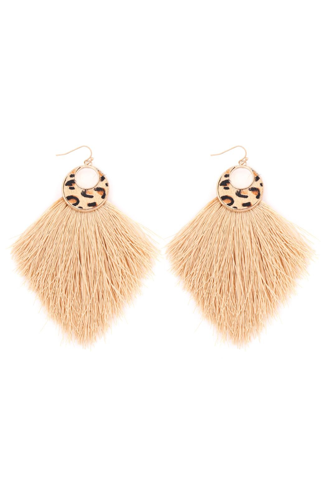 Riah Fashion Leopard-Round-Print-Fringe-Drop-Earrings - Front Cropped Image