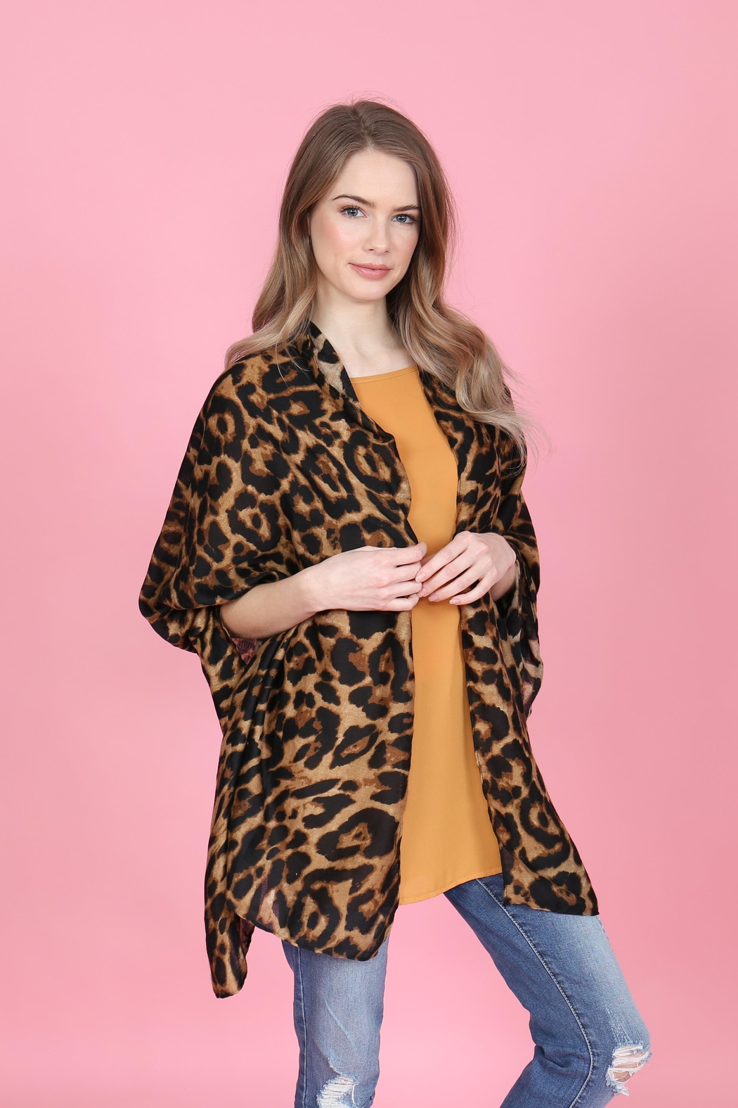 Riah Fashion Leopard Skin Printed-Scarf - Front Full Image
