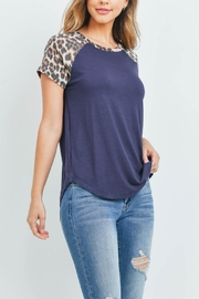 Riah Fashion Leopard-Sleeve-And-Neckband-Solid-Rib-Top - Product Mini Image