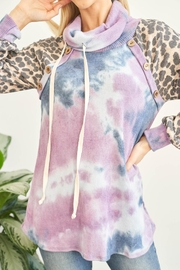 Riah Fashion Leopard-Sleeves-Tie-Dye-Cowl-Neck-Top-With-Self-Tie - Side cropped
