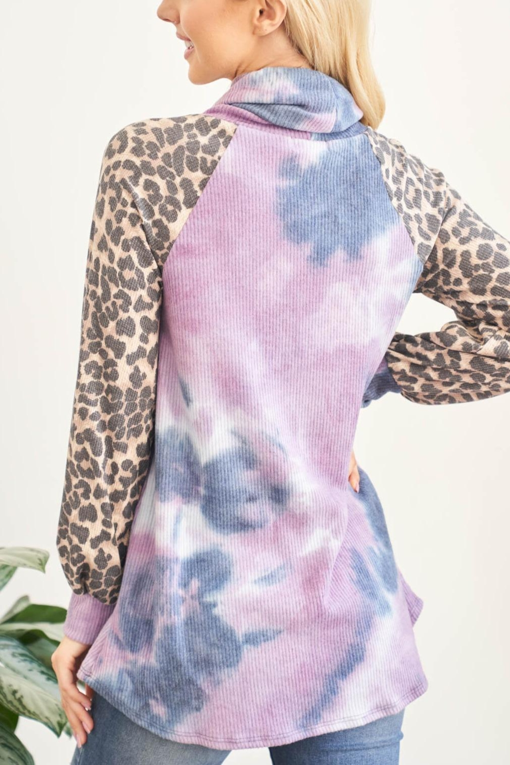 Riah Fashion Leopard-Sleeves-Tie-Dye-Cowl-Neck-Top-With-Self-Tie - Front Full Image