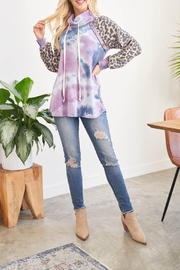 Riah Fashion Leopard-Sleeves-Tie-Dye-Cowl-Neck-Top-With-Self-Tie - Other
