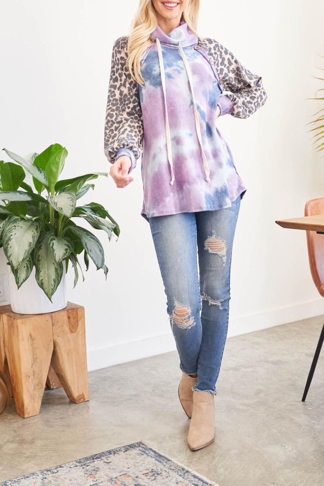 Riah Fashion Leopard-Sleeves-Tie-Dye-Cowl-Neck-Top-With-Self-Tie - Main Image