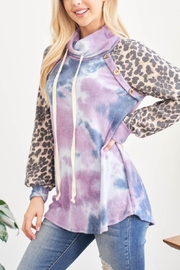 Riah Fashion Leopard-Sleeves-Tie-Dye-Cowl-Neck-Top-With-Self-Tie - Back cropped