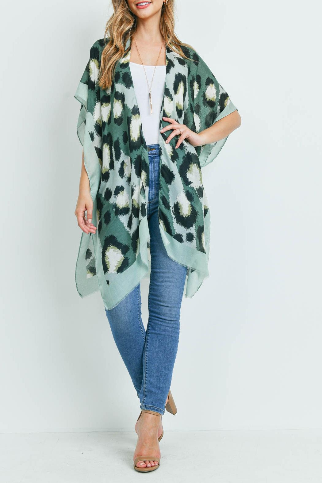 Riah Fashion Leopard-Solid-Trim Kimono - Side Cropped Image